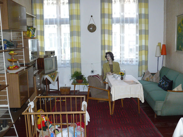 An exhibit showing living room furnishings in the former East Germany