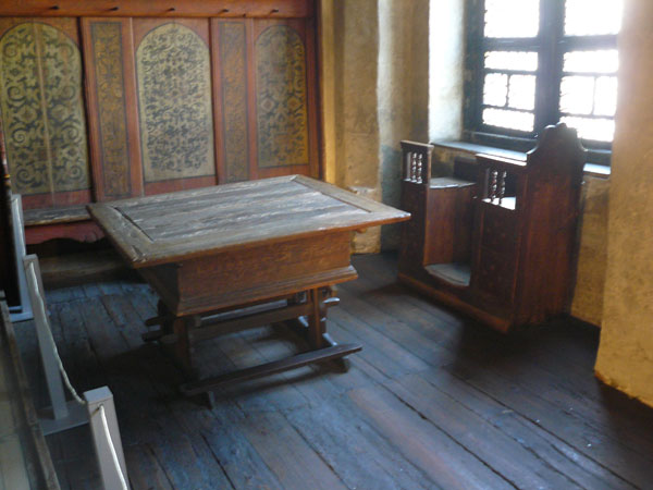 Luther's work table. His wife Katarina liked to sit in the seat by the window and sew.