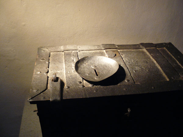 A coffer used to collect mmoney for indulgences at the Luther House in Wittenburg