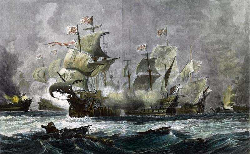 A nimble English ship blasting away at two clumsy Spanish galleons
