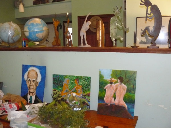 These acquisitions fit right in with the eclectic dining room gallery at Harmony House.