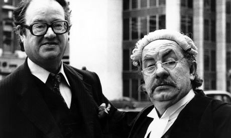 John Mortimer with Leo Kern, who played Rumpole in the television series