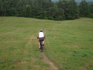 Mountain biking at Kingdom Trails, Lyndonville Vermont.