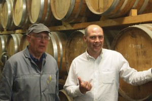 Father and son DeLord, in their cellar.
