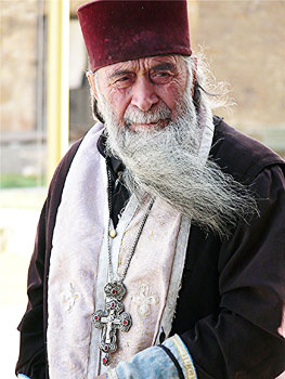 A priest at Sveti Tskhoveli Cathedral in Mkskheta, Georgia. Photos by David Rich