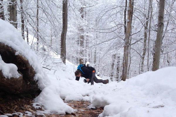 George takes a bite out of winter while hiking up Kane Mountain in the Southern Adirondacks. Dec. 20, 2014