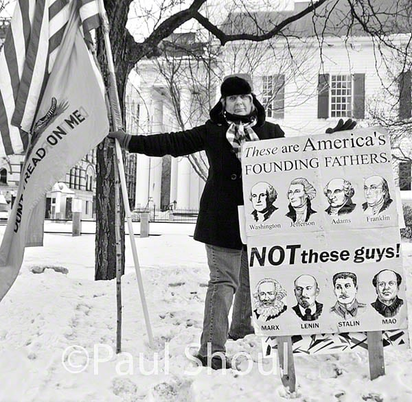 tea party  Tea party counter demonstration to a labor rally in support of Wisconsin Springfield ma