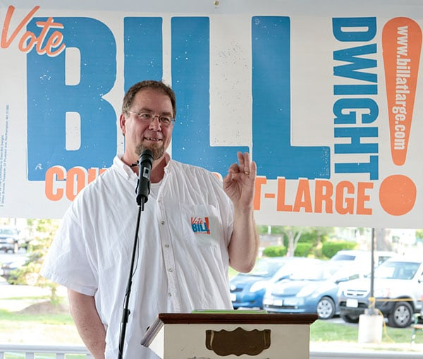 Bill Dwight campaign kick off speech for city concilor at large northampton mass