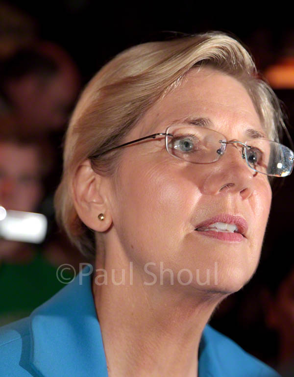 Elizabeth Warren campaigning in Springfield MA after her announcement to run for the Senate