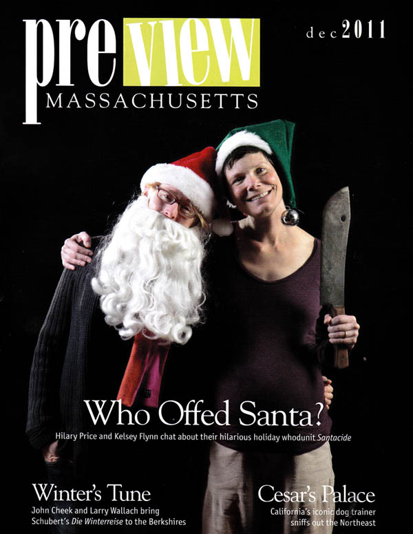 Hillary Price and Kelsy Flynn on the cover of Preveiw Mass magazine for their play Santacide
