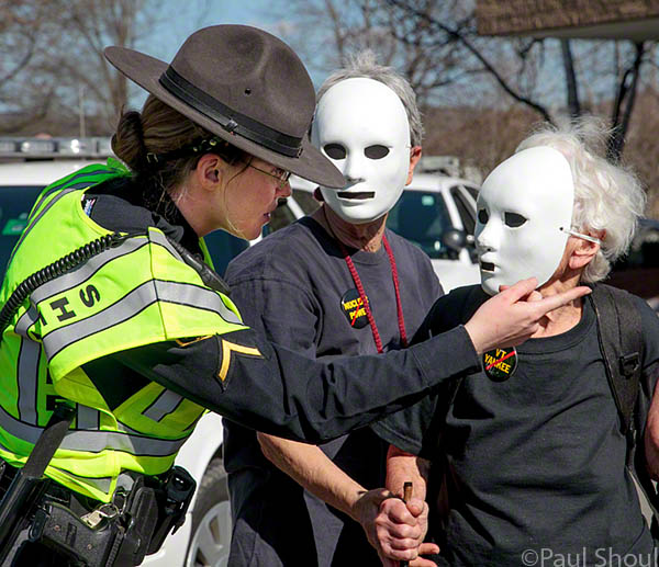 vermont yankee protest arrest of Frances Crowe at Entergy corperate headquarters in Vermont