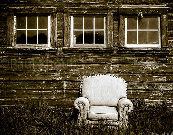 old chair and barn on river road in Hatfield MA