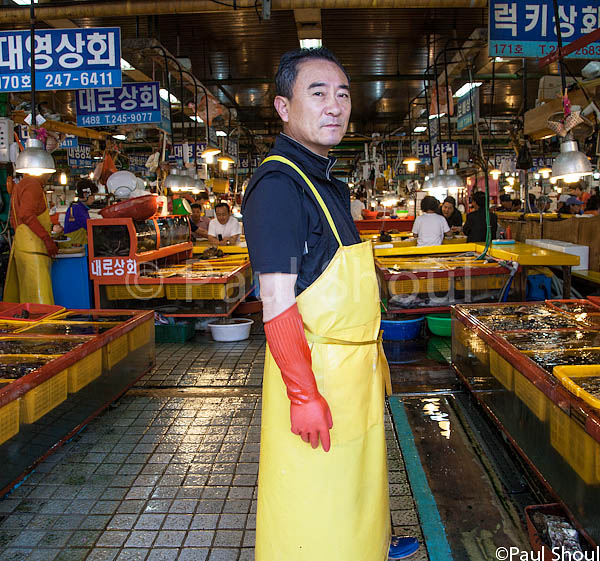Jagalchi fish Market, Busan South Korea Portrait of a fishmonger.