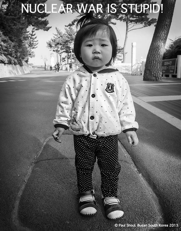Anti nuclear photograph of a little girl in Busan South Korea