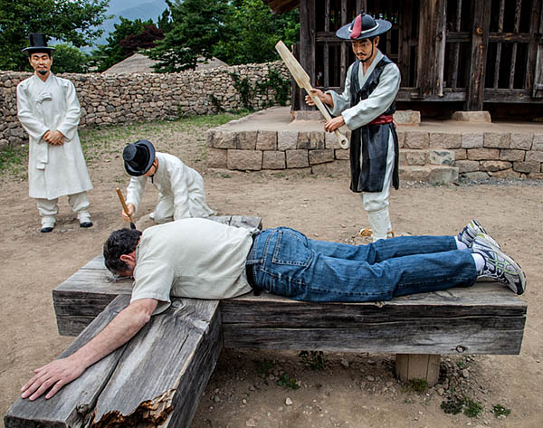 Mock punishment of photographer paul shoul in South Korea