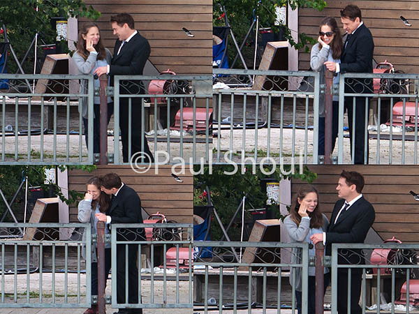 Robert Downey Jr and wife Susan on the set of 'The Judge' on June 10, 2013 in Shelburne Falls, Massachusetts.