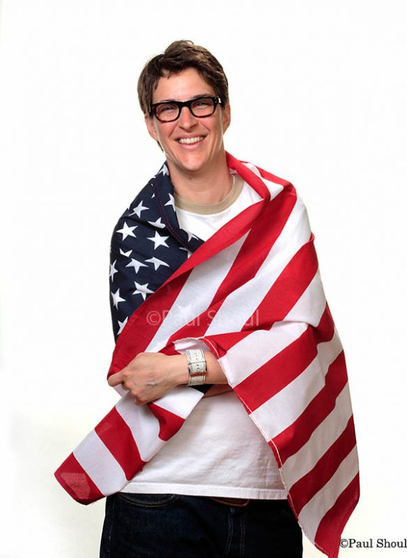 Rachel Maddow and  the American flag