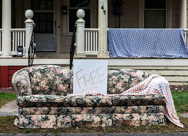 free couch in the rain