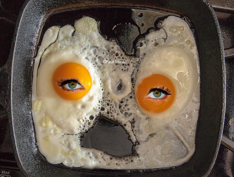 fried eggs with eyes on halloween morning shoul
