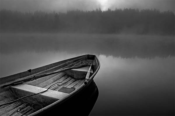 Hawkhill Nature Finland-misty lake and boat