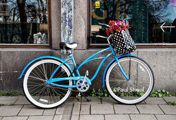 finland, turku, bicycle with flowers