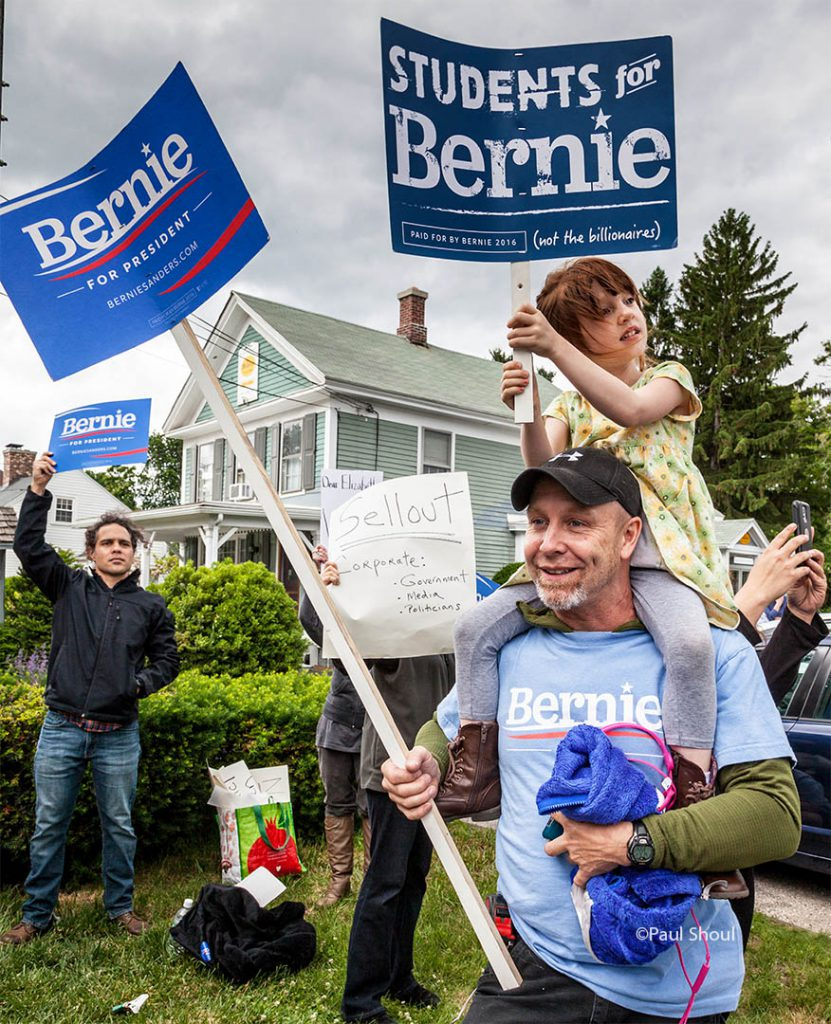 Elizabeth Warren protested by Bernie Sanders supporters in Northampton, MA.