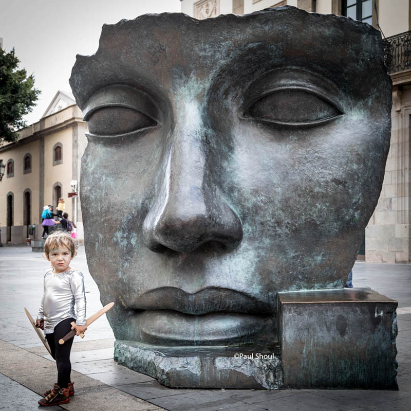 Boy and bronze mask, Teatro Guimera, Santa Cruz, Tenerife. #spain #canaryislands