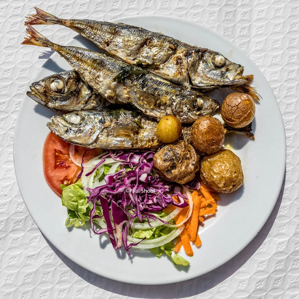 portugal, algarve-faro-grilled sardines at nunos grill and pizza