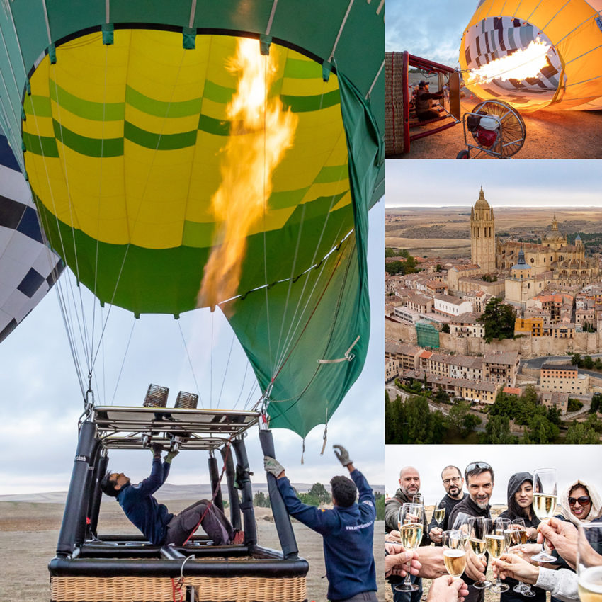 Hot air ballooning over Segovia Spain with @siempreenlasnubes . Totally cool. Tradition demands a glass of champagne after the flight. Highly recommended.