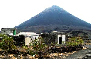 A house in front of a volcano on the Cape Verde islands.